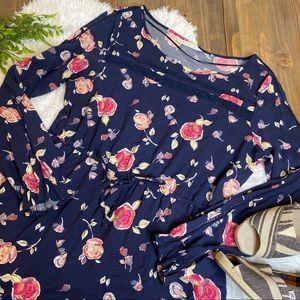 Lauren Conrad Floral Long Sleeve Navy Dress Large